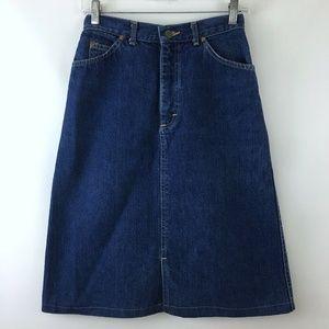 Vintage Lee Size 8 Denim Skirt Aline Dark Wash